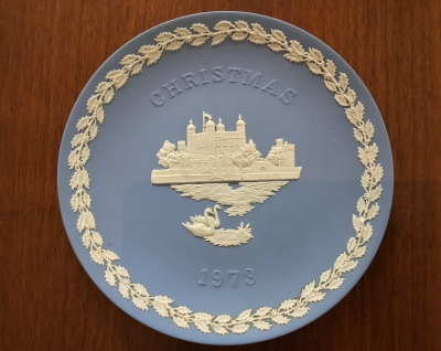 Wedgwood Blue Jasperware 1978 Christmas Plate, Tower of London