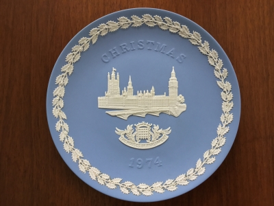 Wedgwood Blue Jasperware 1974 Christmas Plate, Houses of Parliament