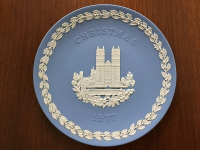 Wedgwood Blue Jasperware 1977 Christmas Plate, Westminster Abbey