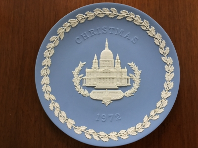 Wedgwood Blue Jasperware 1972 Christmas Plate, St. Paul's Cathedral