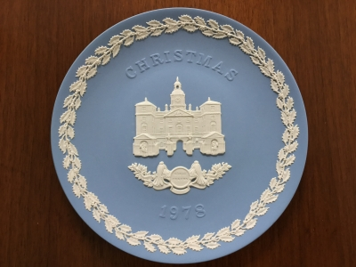 Wedgwood Blue Jasperware 1978 Christmas Plate, Horse Guards