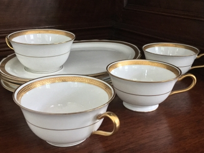 C. Ahrenfeldt Limoges Luncheon Trays and Cups, Set of 4