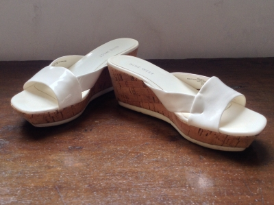 Nine West White Patent Wedge Sandals, Size 6M