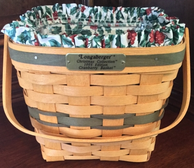 1995 Longaberger Cranberry Basket with Holly Fabric Liner and Plastic Protector