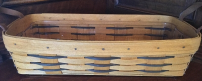 Longaberger Rectangular Basket with Leather Handles and Plastic Protector