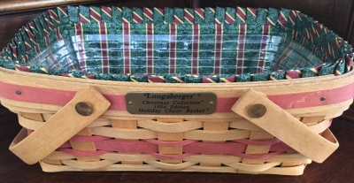 1996 Longaberger Holiday Cheer Basket with Fabric Liner and Plastic Protector