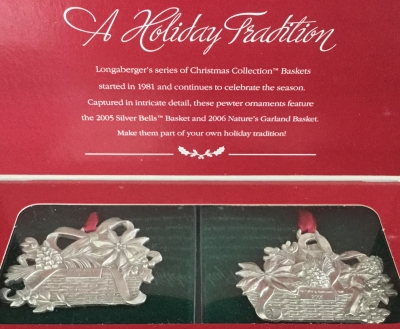 Longaberger Pewter Holiday Basket Ornaments