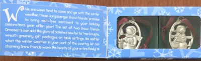 Longaberger Pewter Snow Friends Ornaments