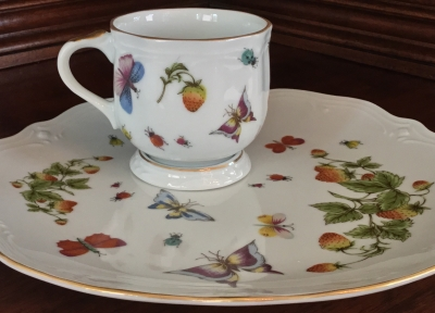 Butterfly and Strawberry Cup and Luncheon Plate
