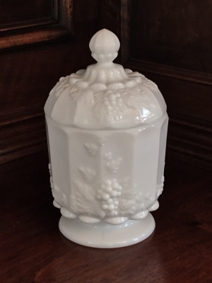 Westmoreland Milk Glass Candy Dish Grape Motif