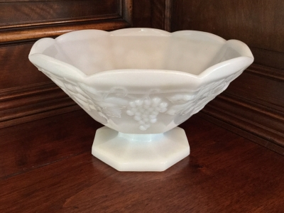 Milk Glass Footed Bowl, Grape Motif
