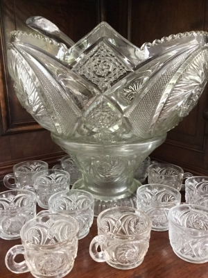 Cut Glass Punch Bowl Set, 14 PIeces