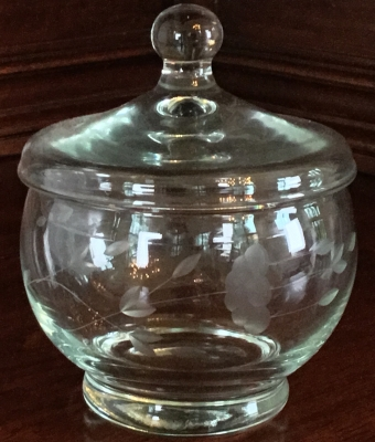 Princess House Etched Lidded Candy Dish