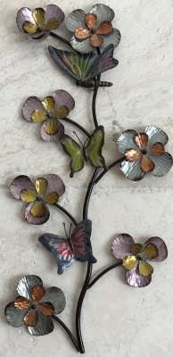 Metal Flower and Butterfly Wall Art
