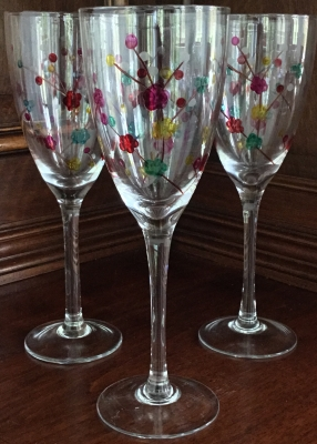 Cherry Blossom Wine Glasses, Set of 3