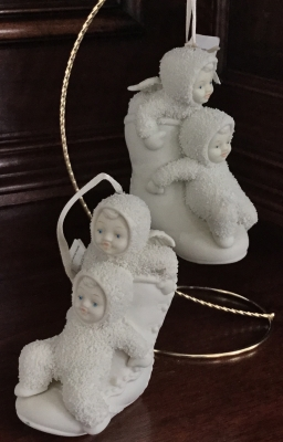 Snowbabies, High Button Ornaments, Set of 2