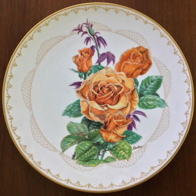 Boehm Roses of Excellence, Brandy Plate