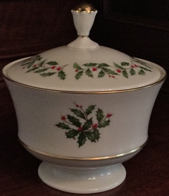 Lenox Holly and Berries Lidded Candy Jar