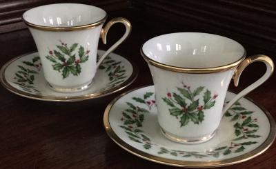 Lenox Holiday Cups and Saucers, Set of 2