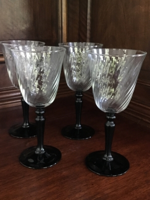 Black Stem Wine Glasses, Set of 4