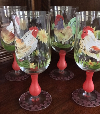 """Rooster"" Glasses, Set of 4"