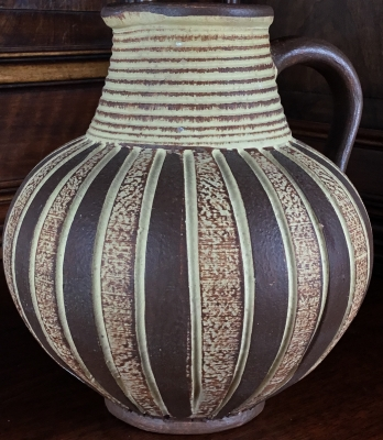 Signed Tan and Brown Pottery Jug