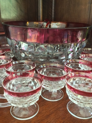 Vintage Punch Bowl, 10 Cups, and Ladle