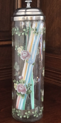 Glass Floral Straw Dispenser