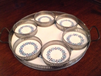 Porcelain Serving Tray and Coasters