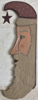 Hanging Wooden Santa Face