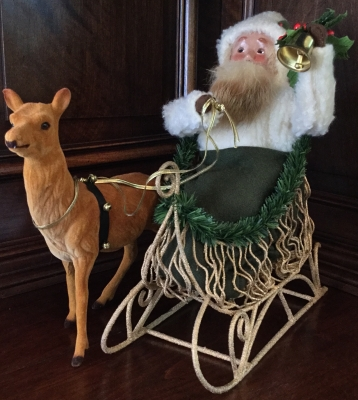 2000 Byers' Choice, Santa in Gold Sleigh with Reindeer