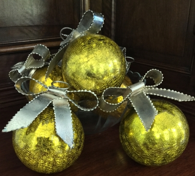 Glass Yellow Ornaments with Metal Ribbons, Set of 6