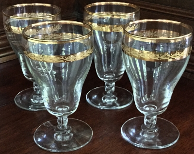 Gold Trim Etched Sherry Glasses, Set of 4