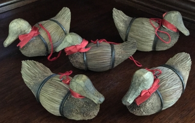 Straw and Wood Duck Ornaments, Set of 5