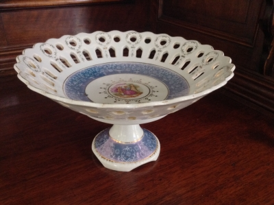 Porcelain Footed Bowl with Cut Outs