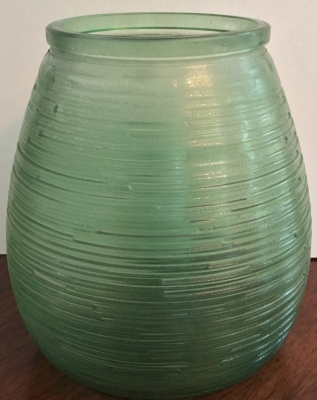 Green Glass Textured Vase