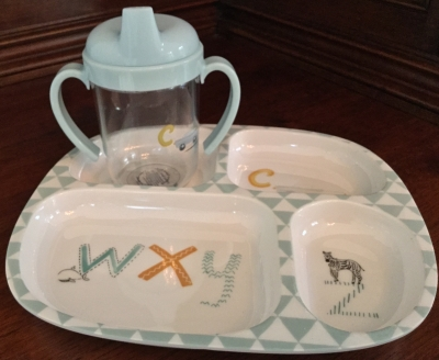 Pottery Barn Melamine Plate and Sippy Cup Set