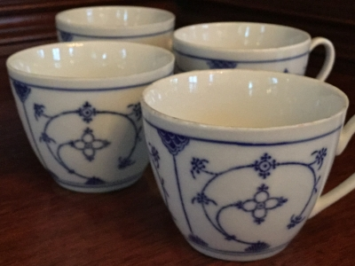 Blue and White Vintage Coffee Cups, Set of 4