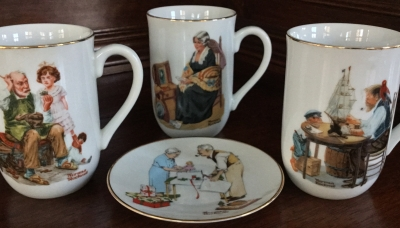 Norman Rockwell Cups and Plate, Set of 4