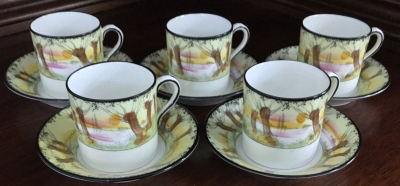 Royal Doulton Demitasse Cups and Saucers, Set of 5