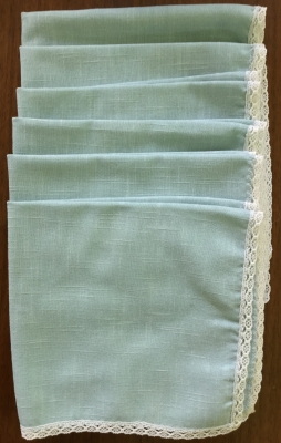 Blue Napkins with Lace, Set of 6
