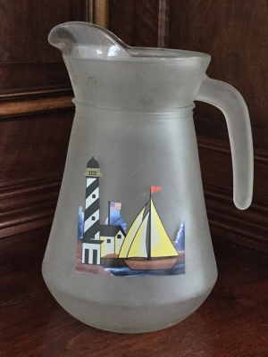 "Frosted ""Sailboat"" Pitcher"
