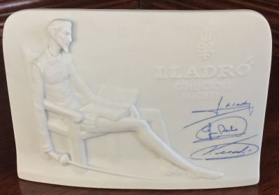 Lladro Collectors Society Display Plaque, Blue Ink