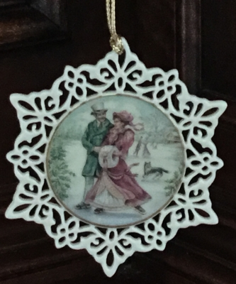 Lenox Victorian Lace Victorian Lace Skaters Ornament
