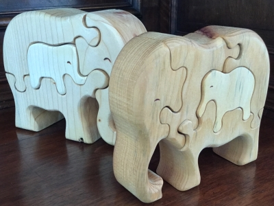 Wooden Elephant Puzzles Set Of 2