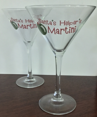Santa's Helper's Martini Glasses, Set of 2