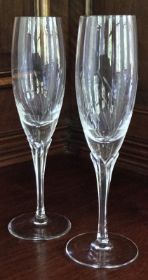 Etched Champagne Flutes, Set of 2