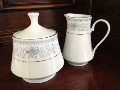 Crown Ming China Creamer and Sugar Bowl