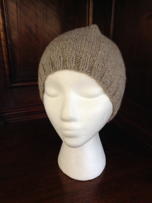 Hand Knit Tan Cap