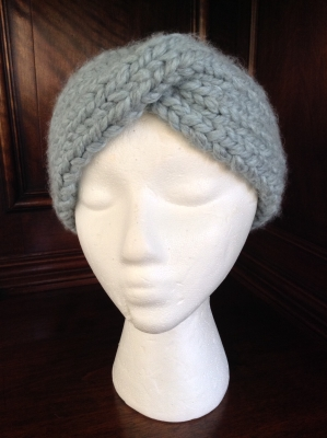 Hand Knit Grey Headband